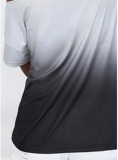 Impresión Lentejuelas Degradada Un Hombre Manga Corta Casual Blusas