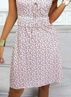 Floral Print Sheath Puff Sleeves Short Sleeves Mini Casual Dresses