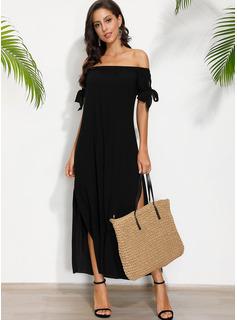 Maksimum Off-shoulder Chiffon Solid/Slit Korte ærmer Mode kjoler