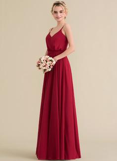 A-Line/Princess V-neck Floor-Length Chiffon Bridesmaid Dress With Bow(s)