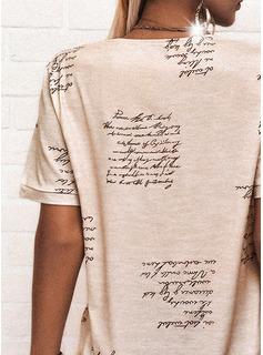 Impresión Carta Cuello en V Manga Corta Casual Blusas