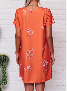 Floral Impresión Vestidos sueltos Manga Corta Mini Casual camiseta Vestidos de moda