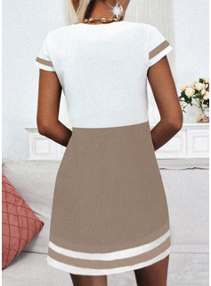 Trozos de color raya Corazón Vestidos sueltos Manga Corta Mini Casual camiseta Vestidos de moda