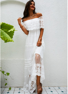 кружевной твердый A-линии 1/2 рукава Макси элегантный Модные платья