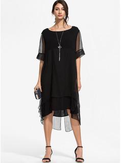 Hasta la rodilla Cuello redondo poliéster Costura/Sólido Manga 1/2 Vestidos de moda