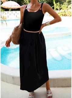 Sólido Vestido línea A Sin mangas Maxi Pequeños Negros Casual Vacaciones Patinador Tipo Vestidos de moda