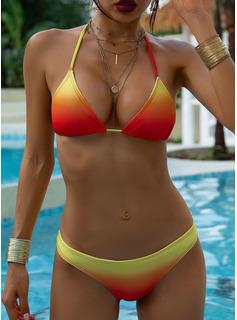 Bikinis poliéster Color de empalme De mujer Sí Ropa de baño