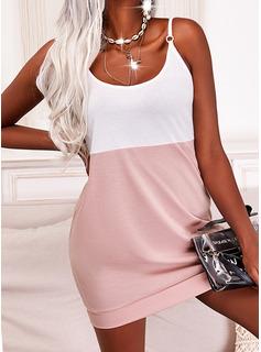 Trozos de color Vestidos sueltos Sin mangas Mini Casual Tipo Vestidos de moda