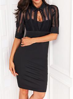 Sólido Ajustado Mangas 1/2 Mini Pequeños Negros Casual Elegante Vestidos de moda