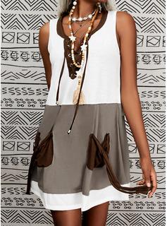 カラーブロック シフトドレス ノースリーブ ミディ カジュアル タンク ファッションドレス
