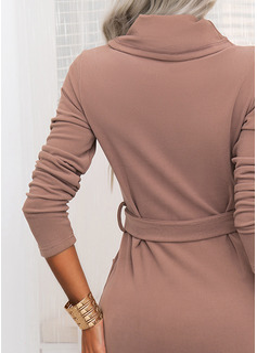 Solid Bodycon Lange ærmer Midi Casual Blyant Mode kjoler