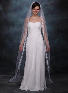 1 couche Bord en dentelle Voiles de mariée chappelle avec Motif appliqué