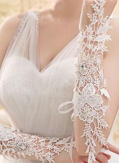 Kant Wrist Lengte Bruids Handschoenen met Geborduurd