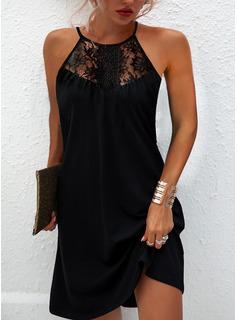 Encaje Sólido Vestidos sueltos Sin mangas Mini Pequeños Negros Elegante Franelilla Vestidos de moda