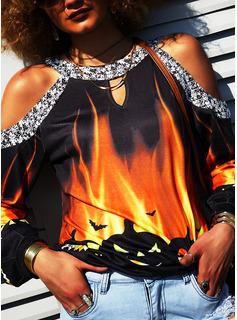 Print Paljetter Kall axel Långa ärmar Halloween Fritids Blusar