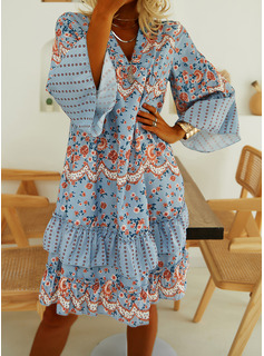 Floral Print Shift Long Sleeves Mini Casual Tunic Dresses