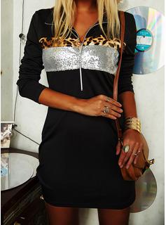 Leopard pailletter Skiftekjoler Lange ærmer Midi Casual Tunika Mode kjoler