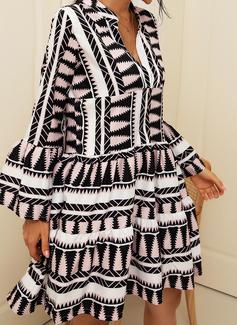 Geometrisk Skiftekjoler Lange ærmer Midi Casual Ferie Mode kjoler