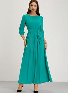 Maksimum rund hals Polyester 1/2 Ærmer Solid Mode kjoler