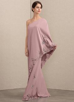 Forme Princesse Seule-épaule Longueur ras du sol Crêpe Stretch Robe de mère de la mariée avec Dentelle