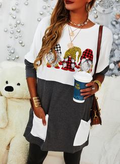 Print Grid Leopard Rund hals Lange ærmer Jule sweatshirt