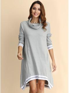 Stribe Skiftekjoler Lange ærmer Mini Mode kjoler