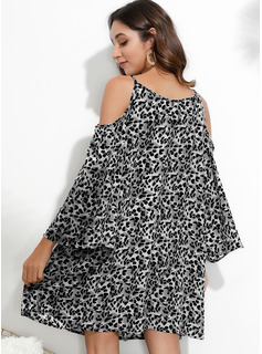 Leopard Shift Cold Shoulder Sleeve Long Sleeves Mini Casual Vacation Tunic Dresses