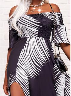 Impresión Vestido línea A Mangas 3/4 Maxi Vacaciones Patinador Vestidos de moda