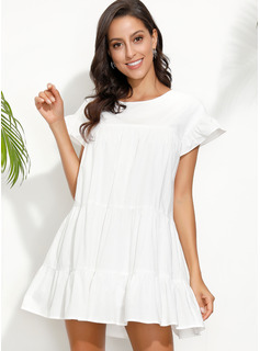 Shift Round Neck Polyester Dresses
