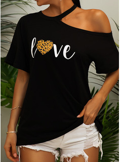 leopardo Stampa Una spalla Maniche corte Casuale Camicie