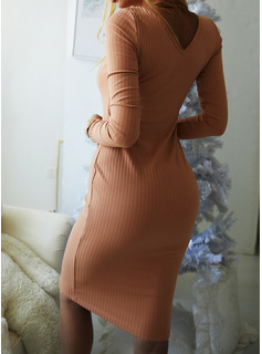 Solid Bodycon Long Sleeves Midi Little Black Casual Dresses