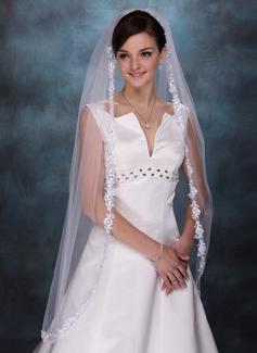 1 couche Voiles de mariée valse avec Bord en dentelle