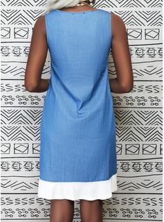 Solid Shift Sleeveless Midi Casual Dresses
