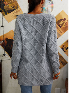 V-Neck Casual Long Solid Cable-knit Chunky knit Pocket Sweaters
