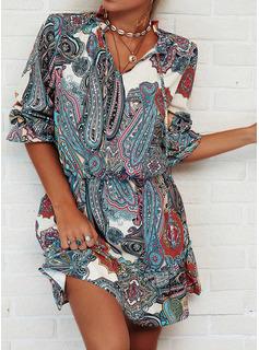 Estampado Aplicação de renda Bainha Manga Comprida Mini Boho Vestidos na Moda