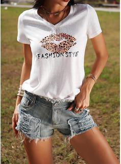 ヒョウ 印刷 Vネック 半袖 カジュアル Tシャツ