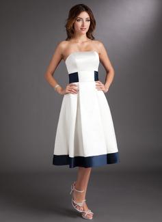 A-Line Strapless Knee-Length Satin Wedding Dress With Sash Bow(s)