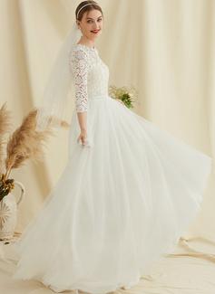 A-Linje Rund-urringning Sweep släp Tyll Spets Bröllopsklänning