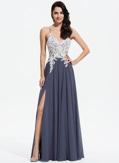 Corte A Decote V Longos Tecido de seda Vestido de festa com Renda Beading lantejoulas Frente aberta