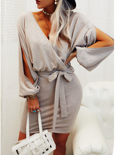Solid Sheath Long Sleeves Mini Casual Dresses