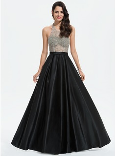 A-Line Scoop Neck Floor-Length Satin Prom Dresses With Beading