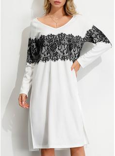 Lace Shift Long Sleeves Midi Casual Tunic Dresses