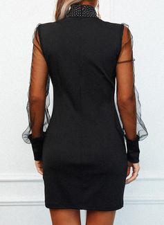 固体 ボディコンドレス 長袖 ミニ カジュアル エレガント ファッションドレス