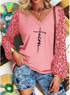 Leopard Figure Print V-Neck Long Sleeves Casual T-shirt