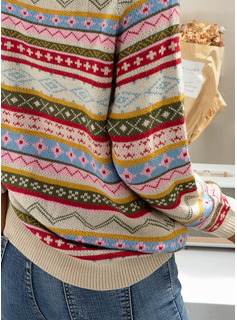 Round Neck Casual Print Chunky knit Sweaters