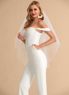 A-Line Off-the-Shoulder Floor-Length Stretch Crepe Wedding Dress With Pockets