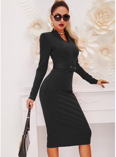 Einfarbig Figurbetont Lange Ärmel Midi Kleine Schwarze Elegant Bleistift Modekleider