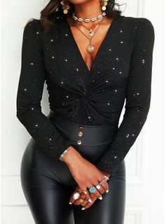 Print V-hals Lange ærmer Elegant Skjorter