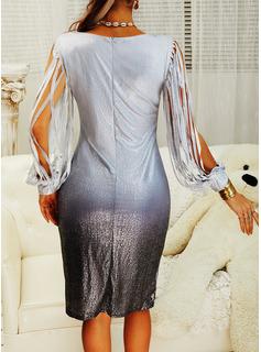 pailletter Skede Lange ærmer Midi Party Mode kjoler
