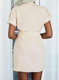 Sólido Cubierta Manga Corta Mini Casual Vestidos de moda